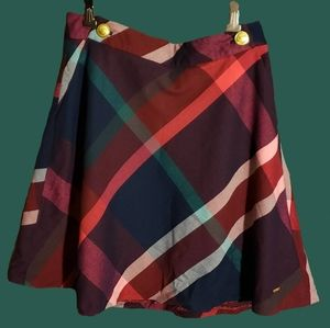 Tommy Hilfiger Plaid Skirt with Golden Buttons